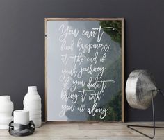 You Can't Find Happiness Typography Print by LovelyPosters on Etsy