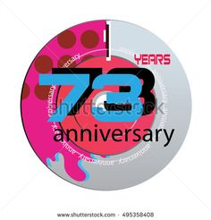 73 years anniversary logo with pink color disc. anniversary logo for birthday, wedding, celebration and party