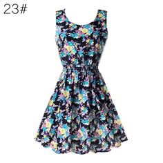 Sexy Chiffon Sleeveless Sundress Kawai Womens Summer Beach Floral Tank Mini Dress XXL L34