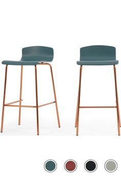 MADE Set Of 2 Barstools, Teal & Copper. Syrus Stools Collection from pieces.
