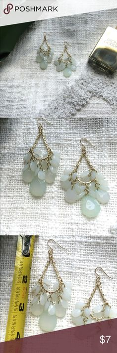 Express gold chandelier earrings Awesome and sexy gold and pale green/mint chandelier earrings by Express. Excellent t like new condition. Great for date night, vacation, or cruise! Ask me any questions, love to bundle! Express Jewelry Earrings