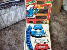 A Junkee Shoppe Junk Market Stop: SMURF Choo Choo Plastic Toy Train Set 1981 Railroal ... For Sale Click Link Here To View >>>> http://ajunkeeshoppe.blogspot.com/2015/12/smurf-choo-choo-plastic-toy-train-set.html