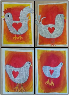 """Pääsiäiskanat ja -kukot"" (Alakoulun aarreaitta FB -sivustosta / Tiina Rautio) Kindergarten Art Projects, Classroom Art Projects, Art Classroom, Primary School Art, Elementary Art, Easter Art, Easter Crafts, 2nd Grade Art, Chicken Art"