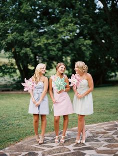 Seersucker Lilly Pulitzer bridesmaids dresses | JoPhoto | see more on: http://burnettsboards.com/2014/10/lilly-pulitzer-wedding-styles/
