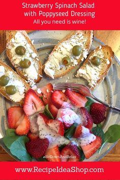 Simple Strawberry Spinach Salad Recipe #simplestrawberryspinachsaladrecipe #sitdownandrelax #recipeideashop