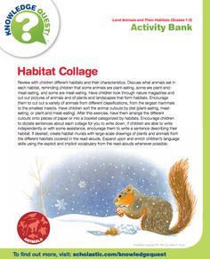 FREE science activity about animal habitats.