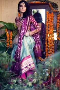 Farah Talib Aziz Spring Summer 2015 Collection Light Blue With Purple Pakistani Couture, Indian Couture, Pakistani Bridal, Pakistani Outfits, Indian Outfits, Bridal Lehenga, Pakistani Mehndi, Bridal Gowns, India Fashion