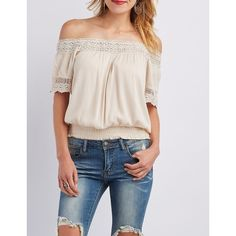 Charlotte Russe Off-the-Shoulder Crochet-Trim Top ($22) ❤ liked on Polyvore featuring tops, blouses, blush, crochet top, off shoulder ruffle top, off shoulder tops, off the shoulder ruffle top and off the shoulder ruffle blouse