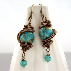Wire work earrings by BlueForestJewellery on Etsy