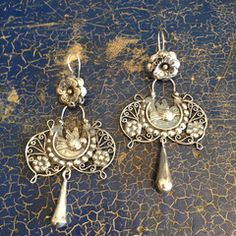 Wide Mazahua Sterling Silver Earring with Silver Drop