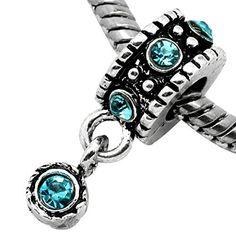 December Blue Topaz Turquoise Rhinestone Birthstone Charm Spacer For Snake Chain Charm Bracelet