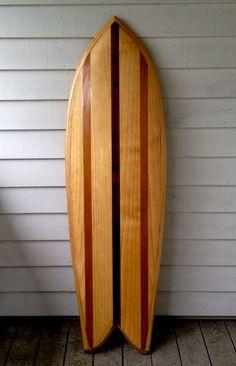 Hollow Wooden Surfboard/Twin Fin Fish