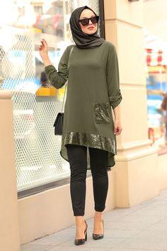 Nayla Collection – Sequined Khaki Hijab Tunic – Best Of Likes Share Pakistani Fashion Casual, Modern Hijab Fashion, Pakistani Dress Design, Muslim Fashion, Fashion Wear, Fashion Dresses, Sequin Outfit, Hijab Trends, Hijab Fashionista