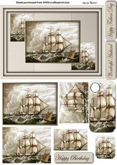 vintage sailing ship on Craftsuprint designed by Cynthia Berridge - a pryamage card for the men, sentiments happy birthday happy fathers day and wonderful husbandthank you to Diane Greenwood for making the card using the print - Now available for download!
