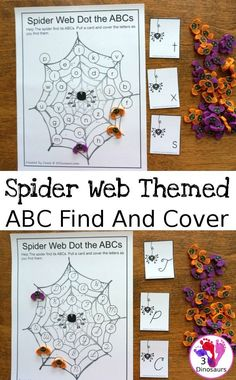 Free ABC Find and Cover Spider Webs: Print & Cursive - 4 find matchs in print and cursive in uppercase and lowercase leters with matching cards for all the mats - 3Dinosaurs.com #abcs #print #cursive #kindergarten #thirdgrade #spidertheme #freeprintable #halloween Printable Activities For Kids, Preschool Learning Activities, Alphabet Activities, Monster Activities, Insect Activities, Free Printables, Halloween Science, Halloween Activities, Halloween Themes