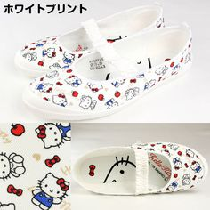 Hello Kitty Ballet Flat Shoes White Print Low Pumps Sneakers Sanrio From Japan