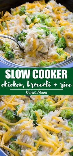 Easy Slow Cooker Chicken, Broccoli and Rice Casserole with cheese! Cheesy and creamy and made in the crock pot with healthy ingredients! One of our favorite easy recipes to make ahead, add this one to your list of crockpot meals! #crockpotrecipes #casserole #slowcookerrecipes #chickenrecipes