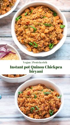 Instant pot Quinoa chickpea biryani - This protein rich and healthy biryani is low carb and perfect for those quick weeknight dinners and lunchoxes. Quinoa Indian Recipes, Vegetarian Recipes, Healthy Recipes, Millet Recipes, Fast Recipes, Healthy Dishes, Instant Pot, Fried Fish Recipes, Quick Weeknight Dinners