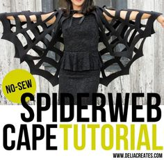 No sew halloweencrafts: DIY Halloween Witch Costume Tutorial from Delia Creates. Make a DIY Witch Costume that includes a DIY Spiderweb Cape and a DIY Hat. DIY Witch Hat Tutorial here. Costume Halloween, Halloween Costumes For Teens, Diy Costumes, Halloween Fun, Diy Witch Costume, Costumes For Moms, Spider Costume Kids, Awesome Costumes, Hero Costumes