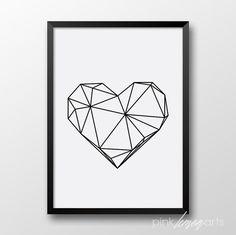 Geometric Heart Print Scandinavian art printable por PinkLemonArts