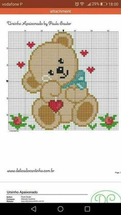 Orsetto innamorato Crochet Pixel, Pixel Crochet Blanket, C2c Crochet, Crochet Quilt, Tapestry Crochet, Crochet Chart, Filet Crochet, Crochet Baby, Crochet Stitches