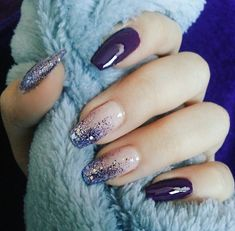 Nails Design Purple Glitter Blue Super Ideas - Nägel ideen - Best Nail World Purple Nail Designs, Nail Art Designs, Fancy Nails Designs, Stylish Nails, Trendy Nails, Beautiful Nail Art, Gorgeous Nails, Perfect Nails, Ongles Gel Violet