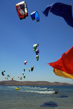 """Kite surf in Paros, Greece day 6 """"Greek islands"""" Mykonos, Santorini, Places To See, Places To Travel, Paros Greece, Paros Island, Go Fly A Kite, Cute Posts, Windsurfing"""