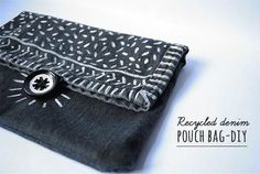 This denim clutch is made from one jean pant leg. Imagine lining it and hand stitching a similar design or machine stitching a border. This purse has many possibilities! http://www.jessicarebelo.com/recycled-denim-pouch-bag-diy/