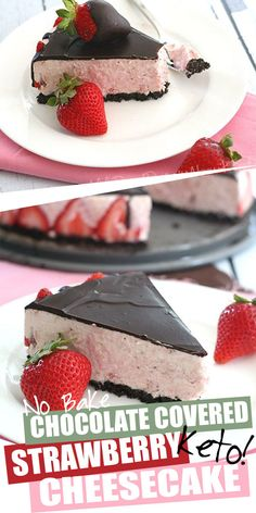 Keto Strawberry Cheesecake for the win! This delicious no-bake cheesecake recipe is set with healthy grassfed gelatin, so you don't need to heat up your kitchen at all. Deliciously creamy and an elegant presentation, no one will guess this Chocolate Strawberry Cheesecake is low carb and sugar-free. #ketodesserts #lowcarbdesserts #sugarfree #strawberrycheesecake