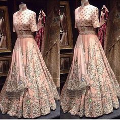 Designer Lehenga & Choli with handwork on it of baby pink colour.To Customised this garment log on to www.in We can able to get this garment at its reasonable rate. Indian Bridal Outfits, Indian Bridal Lehenga, Indian Bridal Fashion, Indian Bridal Wear, Red Lehenga, Pakistani Outfits, Indian Dresses, Lehenga Choli, Bridal Dresses