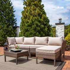 Sunnydaze Belgrano Outdoor Wicker Rattan Sofa Sectional Patio Furniture Set * Read more at the image link. (This is an affiliate link) Pool Patio Furniture, Sectional Patio Furniture, Patio Loveseat, Patio Furniture Covers, Rattan Sofa, Wicker, Outdoor Rocking Chairs, Outdoor Sofa, Outdoor Decor