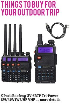 5 Pack Baofeng UV-5RTP Tri-Power 8W/4W/1W UHF VHF Dual Band High Power Two-Way Radio Transceiver + 1 Programming Cable … (This is an affiliate link) #campinggadgets Camping Gadgets, Two Way Radio, Packing, Band, Bag Packaging, Sash, Bands, Orchestra