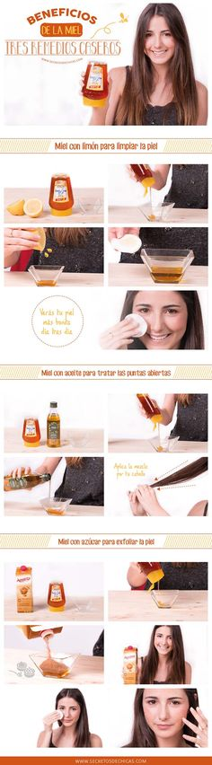 3 remedios caseros de belleza a base de miel. #infografia #miel #belleza