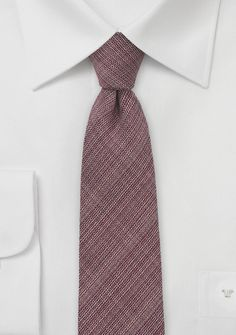Narrow Cut Chambray Tie in Deep Red - $15