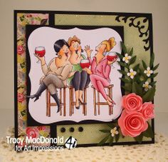 Wine Tasters from Art Impressions Girlfriends line.  Friendship card.