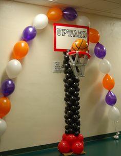Upward basketball banquet decor!   #balloons #jacksonville #basketballballoons