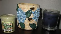 New Yankee Candle Sage & Citrus  &Blue candle w/ FLORAL VOTIVE HOLDER Sale $10