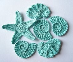 Crochet Sea Motifs, Set  of 6- Sea Shells, Sea Star, Aqua, Tranquil, ready to ship. $7.00, via Etsy.