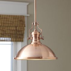 Winslow Copper Pendant, I | Constructed of steel with an antique copper finish, this sleek one-light style features a brasserie design that feels right at home in both modern and classic spaces.