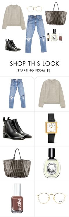 """""""."""" by olfa-udemba ❤ liked on Polyvore featuring Uniqlo, Acne Studios, Larsson & Jennings, Goyard, Diptyque, Essie and Ray-Ban"""