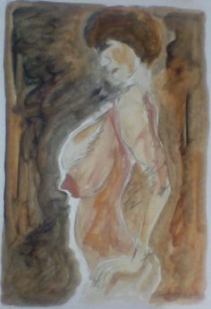 """Nude; oil paint and pencil on paper; 8x11"""""""