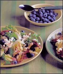 Mixed Greens with Blueberries & Feta by aicr.org: Drizzled with berry/mint vinaigrette!  #Salad #Blueberry #Feta #Healthy