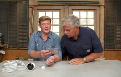 Ask This Old House host Kevin O'Connor shows general contractor Tom Silva a new home monitoring device that works with a smart phone #homesecuritydiyphones