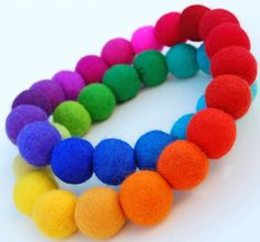 Spectrum Bubbles - A spectacular necklace made from a rainbow of hand felted beads.