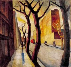 Early Morning New York, 1936 by Herbert Gurschner (Austrian Early Morning, New York, Harlem Renaissance, Bauhaus, Landscapes, Art Deco, Pictures, Painting, Social Realism
