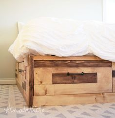 Ana white brandy scrap wood storage bed with drawers - king King Size Storage Bed, Diy Storage Bed, Wood Storage, Storage Ideas, Diy Drawers, Bed With Drawers, Storage Drawers, Ikea Furniture, Furniture Plans