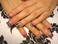 Pink, White, Silver, Black acrylic nail designs.  Completely done with colored acrylic powders!
