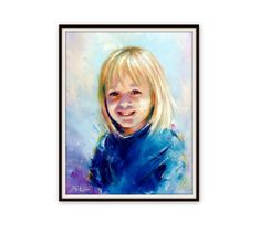 "Custom Portrait - Oil Canvas - Child Portrait Family Portrait Wedding Portrait - Pop Art Portrait Painting Palette Knife - 20"" x 16"" by ArtSunday on Etsy"