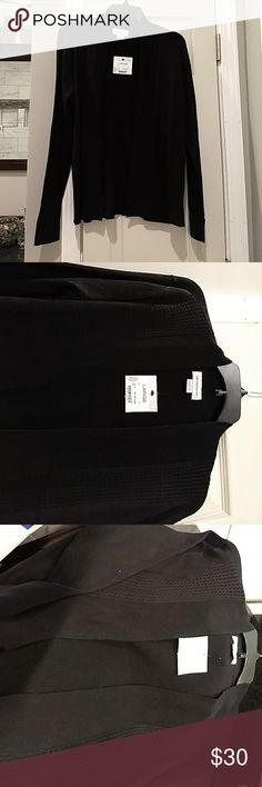 Liz Claibone Open Cardigan Sweater Black, classy lightweight sweater perfect for layering whether you are headed to work or play. Dress it up with a skirt; push up the sleeves & pair it with your favorite jeans for a comfortable, casual look. Measurement from the back collar to the hem is 26 inches. New with tags! Machine washable cotton/polyester blend. Liz Claiborne Sweaters Cardigans