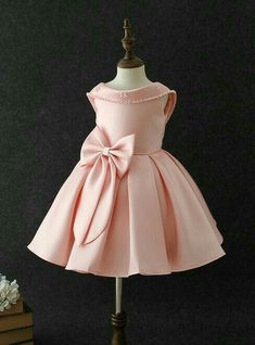 a1d65b3d870c Girly Shop s Peachy Pink Beautiful Folded Round Neckline Sleeveless Knee  Length Bow Back Infant Toddler Little   Big Girl Pearl   Paillette Party  Dress